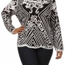 WOMENS PLUS SIZE CASUAL EVENING BLACK AND WHITE BLOUSE SIZE  1X 2X