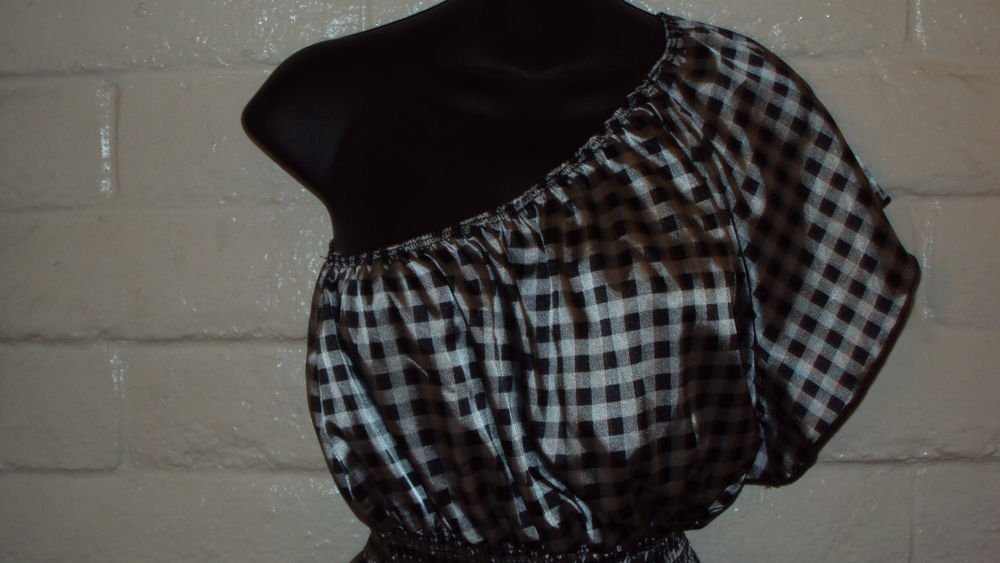 WOMENS NEW BLACK AND SILVER PARTY CHECKERD COTTON ONE SHOULDER BLOUSE SIZE S L