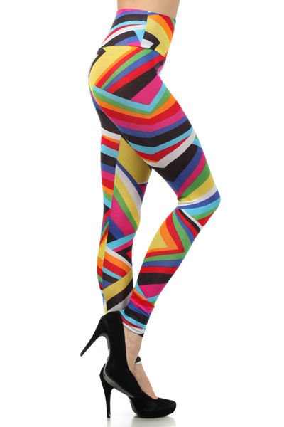 WOMENS RAINBOW COLORED LEGGINGS YELLOW BLUE GREEN PINK SIZE S