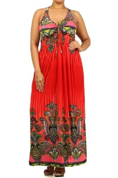 WOMENS SUMMER BEACH PARTY PLUS SIZE PAISLEY PRINT TANK MAXI DRESS SIZE 2X 3X 4X