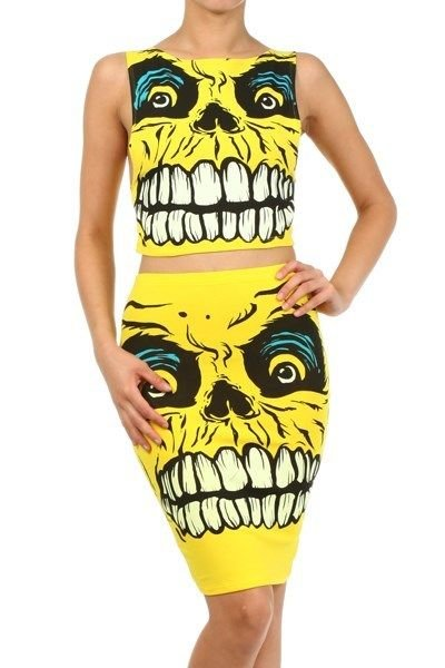 WOMENS GRAPHIC SKELETON DESIGN YELLOW BLACK BLUE SUMMER SKIRT SET SIZE S M L