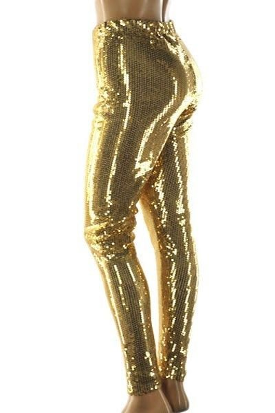 WOMENS GOLD PLUS SIZE PARTY SEQUIN LEGGINGS