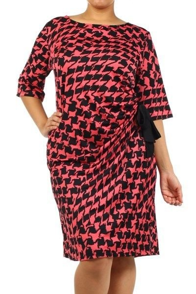 WOMENS PLUS SIZE CASUAL TEA GEOMETRIC PINK BLACK DRESS SIZE 1X 2X 3X