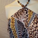 WOMENS LOW HI SUMMER BEACH PLUS SIZE ANIMAL PRINT HALTER DRESS SIZE 3X
