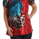 WOMENS RED BLUE BLACK FLORAL CASUAL BLOUSE SIZE 1X 2X 3X