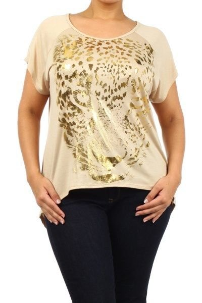 WOMENS HIGH LOW BEIGE PLUS SIZE BLOUSE WITH A TIGER ON IT SIZE 1X 2X 3X