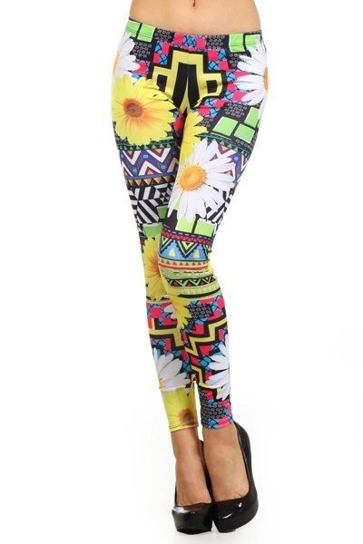 WOMENS FLORAL CASUAL LEGGINGS SIZE S M L