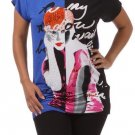 WOMENS BLUE BLACK WHITE RED CASUAL GRAPHIC T- SHIRT BLOUSE SIZE 1X 2X 3X
