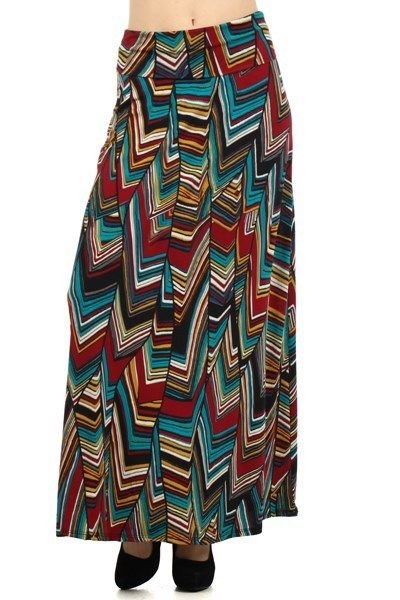 WOMENS CHEVRON STRIPED CASUAL SKIRT BROWN WHITE TURQUOISE MUSTARD YELLOW S M L