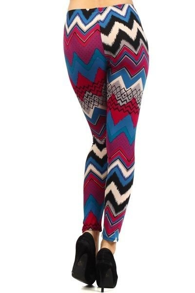 WOMENS BLUE FUSCIA WHITE CASUAL PARTY CHEVRON STRIPED LEGGINGS SIZE S M L