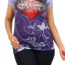 WOMENS PLUS SIZE PURPLE SPANDEX GRAPHIC T-SHIRT RHINESTONES HEART DESIGN 1X 2X