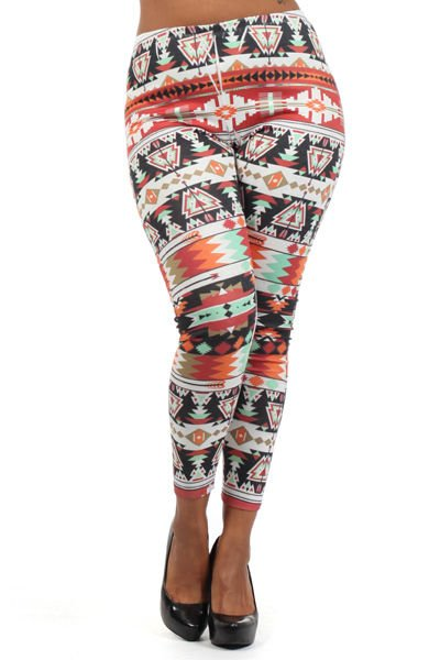WOMENS AZTEC DESIGN PLUS SIZE LEGGINGS ORANGE BLACK WHITE SIZE 1X 2X 3X