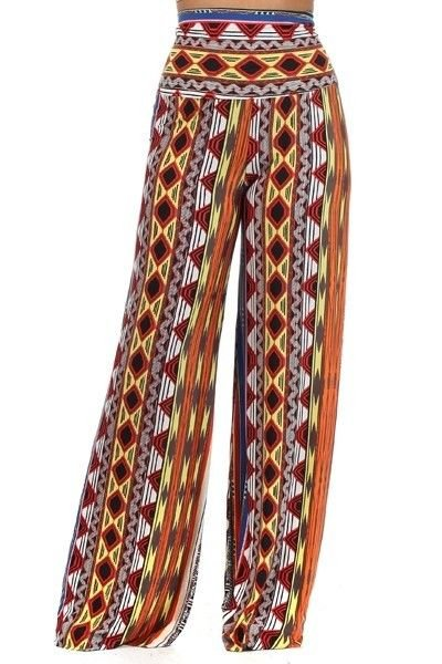 WOMENS CASUAL PLUS SIZE WIDE FLARE LEG BOHEMIAN PRINT DESIGN PANTS SIZE 1X 2X 3X