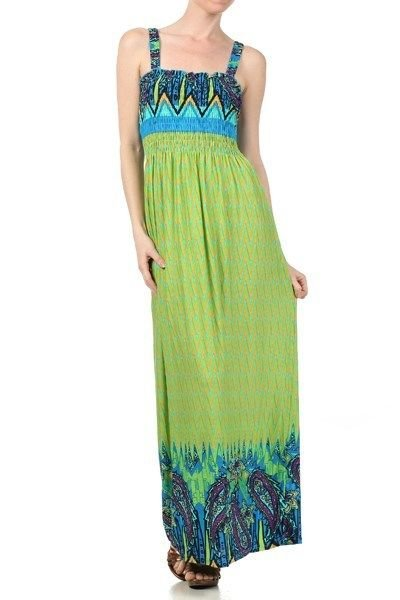 WOMENS SUMMER BEACH MAXI DRESS WITH SMOCKED DETAIL ORANGE AND GREEN SIZE S M L