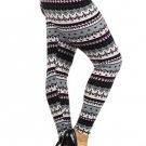 PLUS SIZE MULTICOLORED LEGGINGS GEOMETRIC GREEN GREY PURPLE