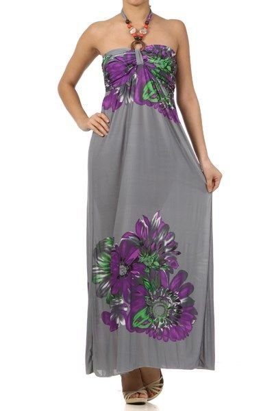 WOMENS HALTER MAXI DRESS WITH FLORAL PRINT AND BEADED EMBELLISHMENTS SIZE SML