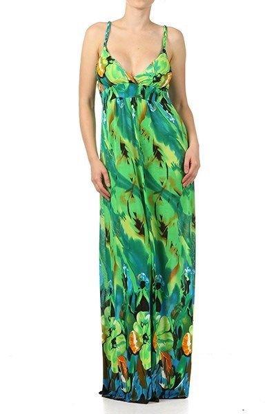 WOMANS GREEN YELLOW SUMMER BEACH V NECK LINE MAXI DRESS Size S M L