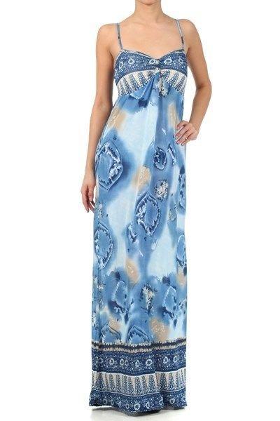 WOMENS SUMMER BEACH PARTY CASUAL BLUE AQUA MAXI DRESS SIZE  S M L
