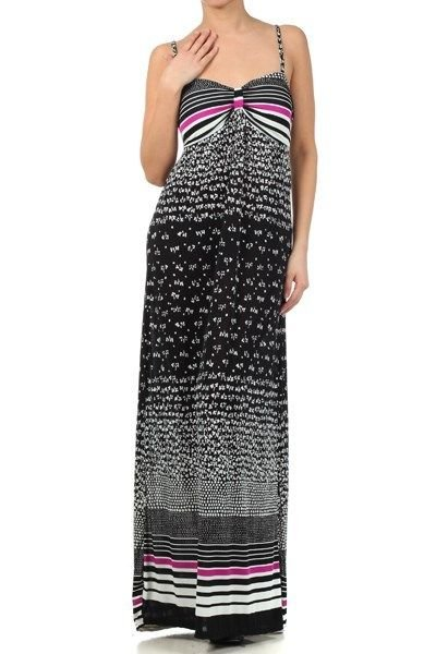 WOMENS BLACK AND PURPLE SUMMER BEACH MAXI DRESS WITH A SMOCKED WAIST SIZE S M L