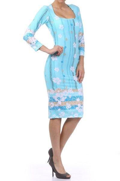 WOMENS  BLUE FLORAL CASUAL SPRING TEA DRESS SIZE S M L