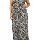 WOMENS  BLACK AND WHITE SUMMER BEACH PARTY PLUS SIZE MAXI DRESS SIZE 1X 2X 3X