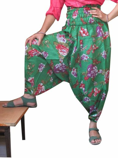 Green  Floral Print Harem Pants Baggy Genie Trouser Jumpsuit Boho Gypsy Indian