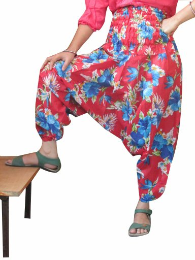 Red Color Floral Print Harem Pants Baggy Genie Trouser Jumpsuit Boho Gypsy India