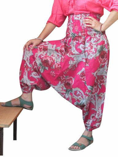 Designer Floral Print Harem Pants Baggy Genie Trouser Jumpsuit Boho Gypsy Indian