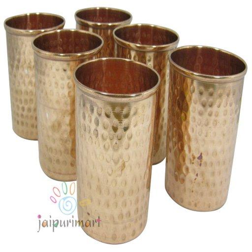 Copper Water 6 Glasses  Set , Copper Item, Pure Copper Vacuum Water Pot ,Glass
