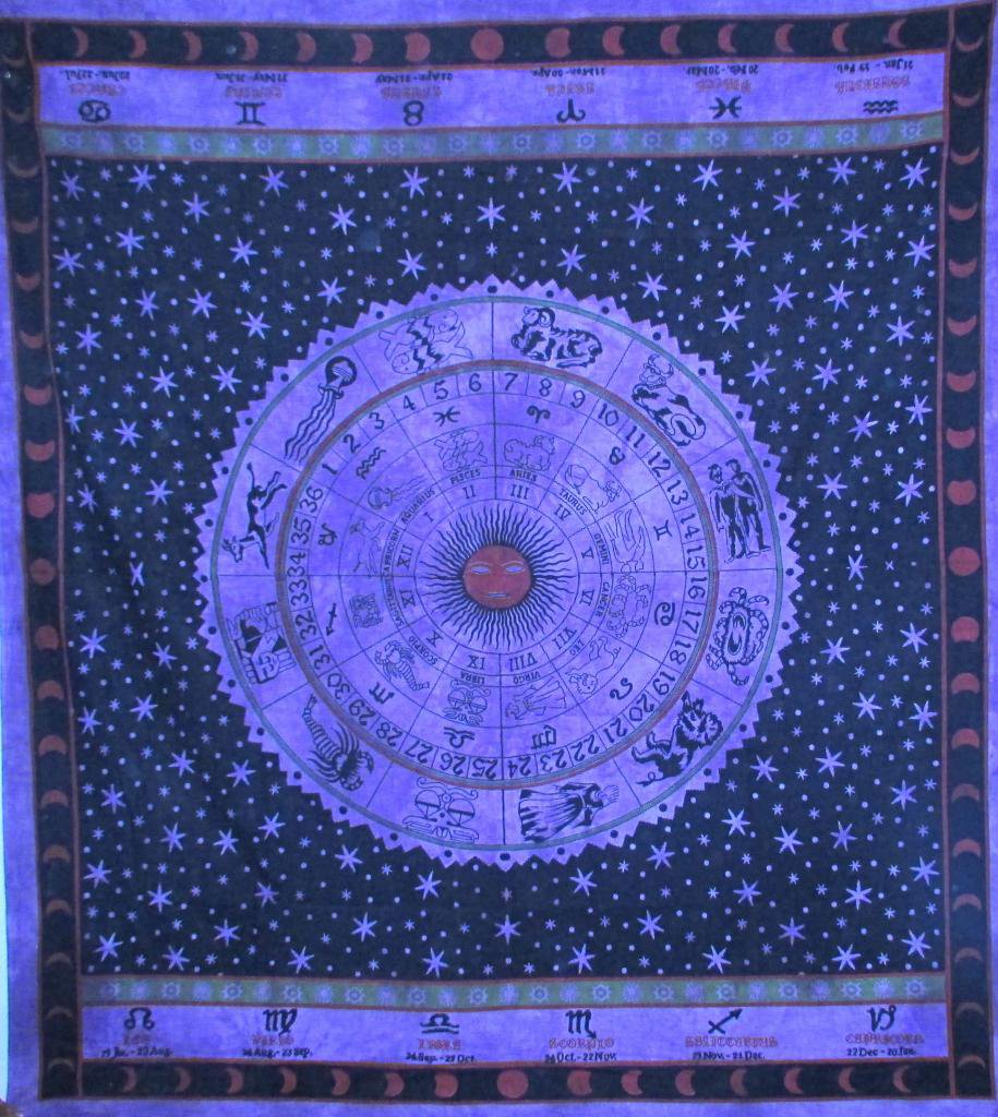 """90"""" Astrology Zodiac Wall Hanging Bed Cover Tapestry BedSpread Horoscope Mandala"""