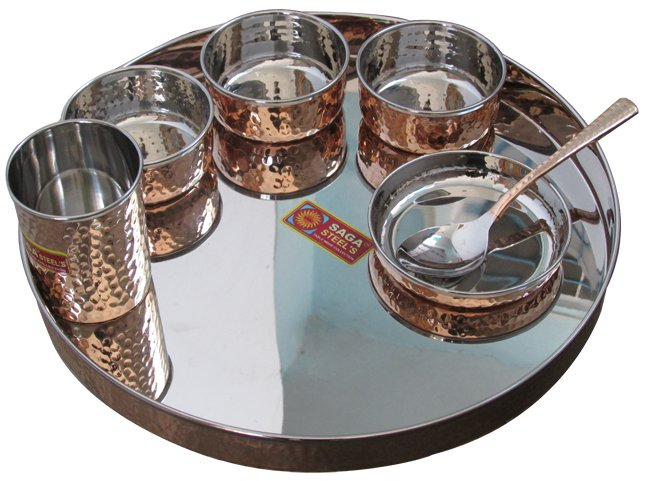Indian Steel Copper Traditional Dinner Set Dish Bowl Glass Spoon Utensils Health