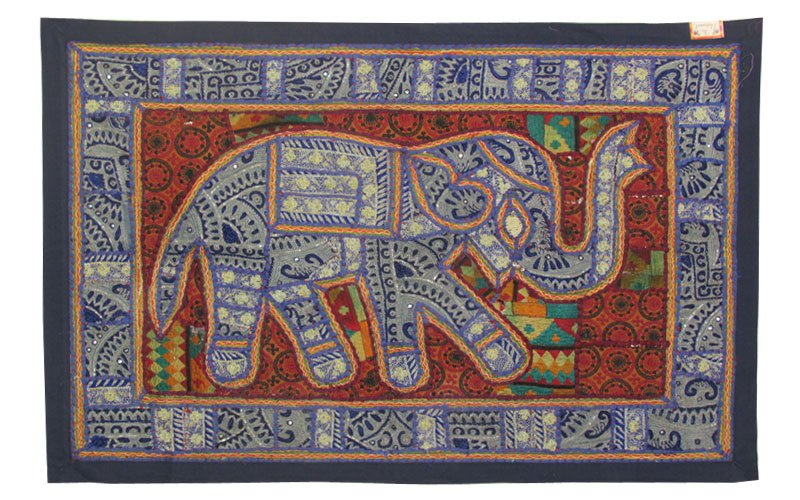 "38""Wall Hanging Beaded Embroidery Art Patchwork Tapestry Decor Handmade Elephant"