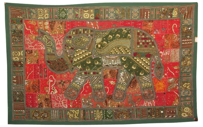 "63""Wall Hanging Beaded Art PatchworkTapestry Runner Handmade Elephant Embroidery"