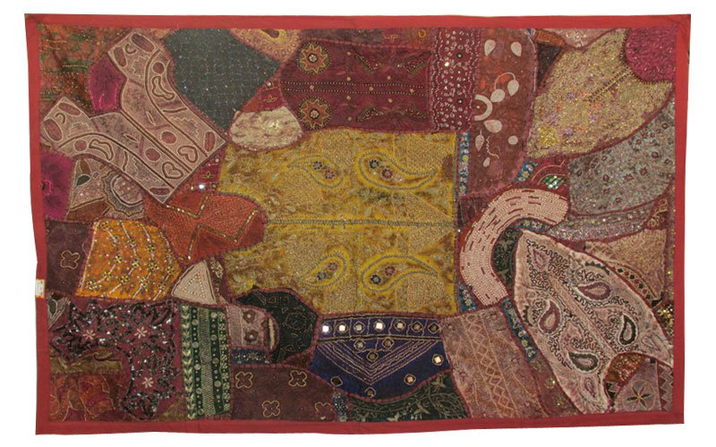 """61"""" Beaded Art Patchwork Tapestry Decor Handmade Runner Embroidery Wall Hanging"""