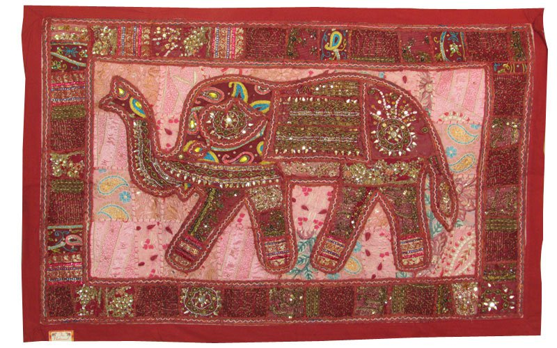 "39"" Elephant Patchwork Tapestry Decor Handmade Throw Embroidery Wall Hanging Art"