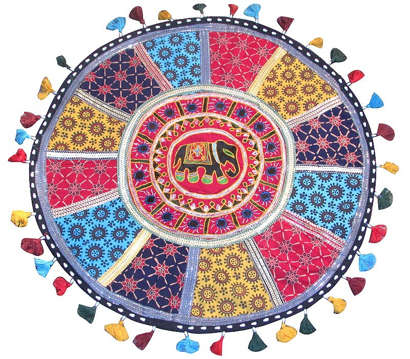 """23"""" Round Embroidered, Flooor, Cushion Cover, Throw, Indian Decor Pillow Ethnic"""