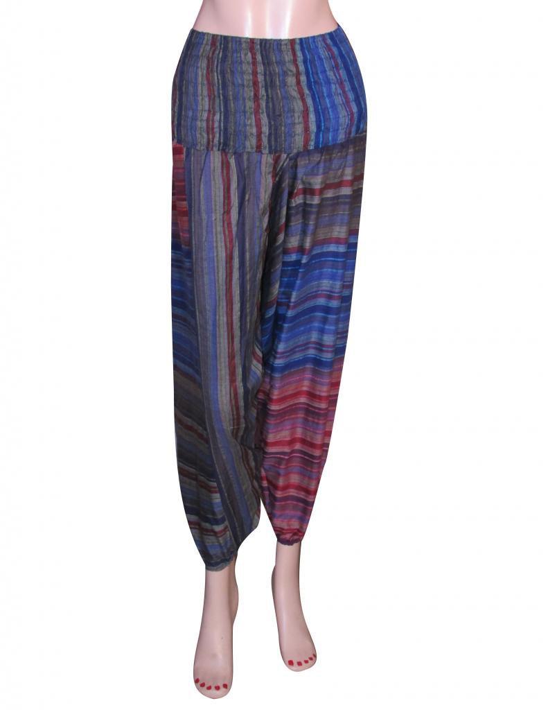 Harem Pants Stripes  Baggy Genie Trouser Jumpsuit Boho Gypsy Indian Multi Color