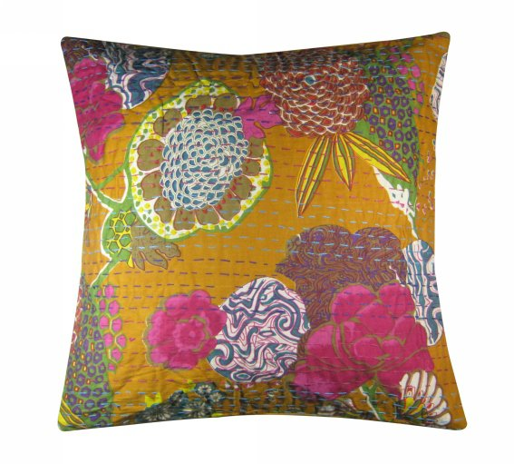 Cushion Cover ,Flower Print , Kantha Cushion Cover Design Pillows With 5 Piece