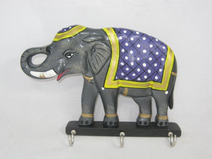 Hand craft Key Holder Wall Hanging Wooden Elephant Designer , 3 key Stand Hanger
