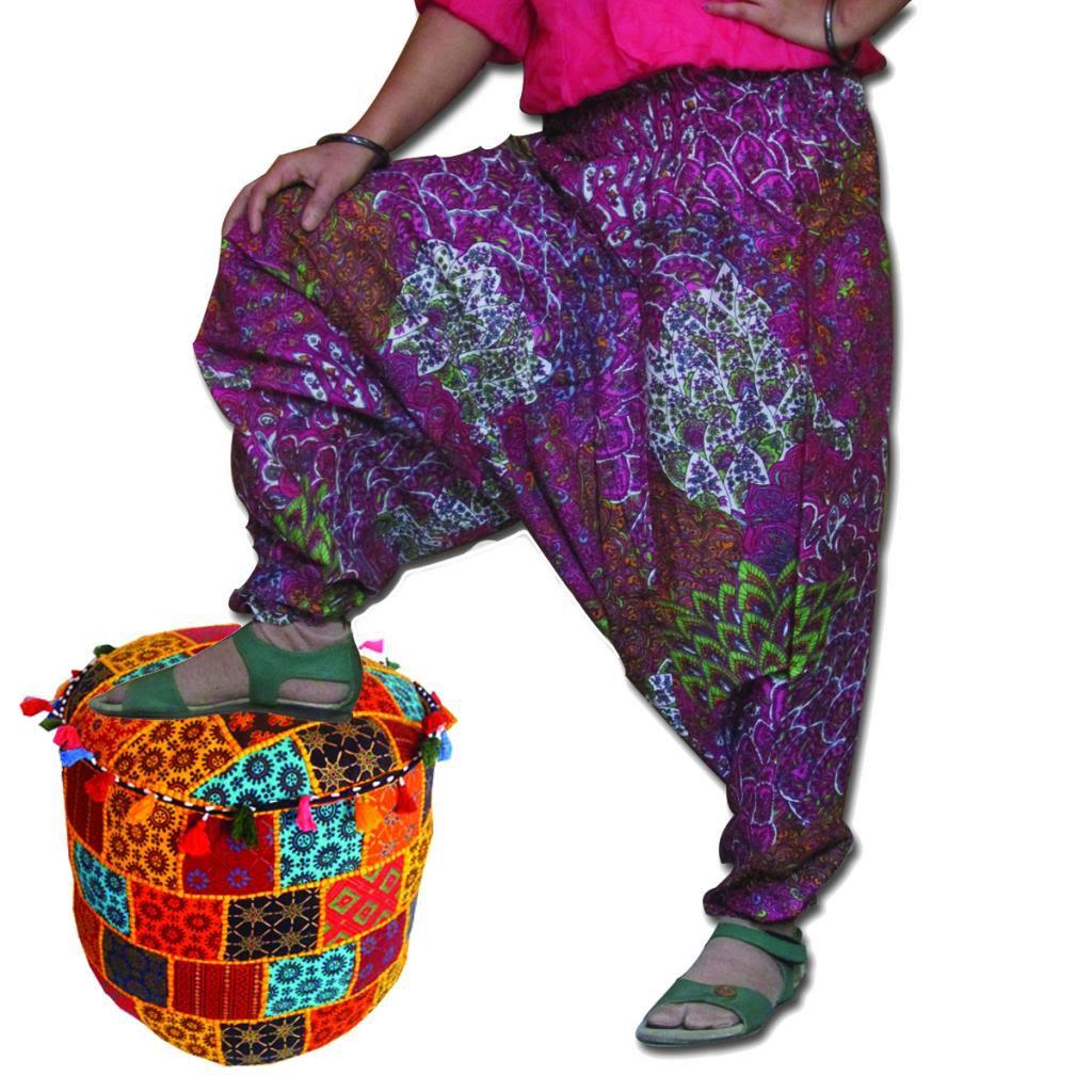 Multi Color Pink Harem  Print Pants Baggy Genie Trouser Jumpsuit Boho Gypsy
