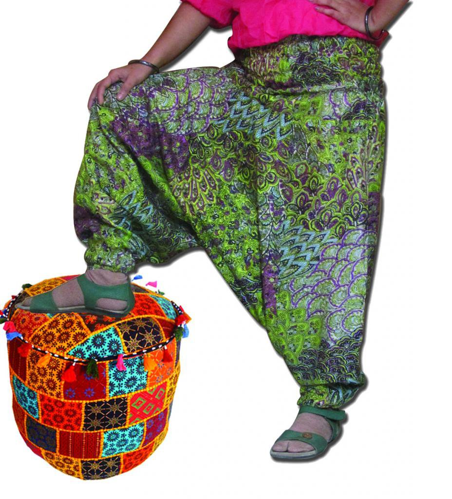 Multi Color Green Harem  Print Pants Baggy Genie Trouser Jumpsuit Boho Gypsy