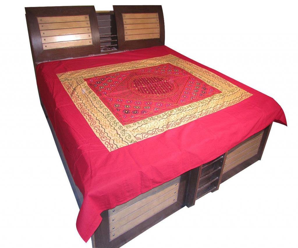 Indian Bed Sheet Embroidered Wall Hanging Bed Cover Tapestry Throw coverlet Art