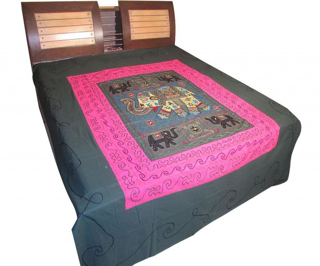 Indian Bedspread Embroidered Wall Hanging Bed Cover Tapestry Throw coverlet Art