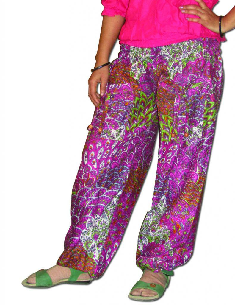 Pink Floral Print Harem Pants Baggy Genie Trouser Jumpsuit Boho Gypsy Indian