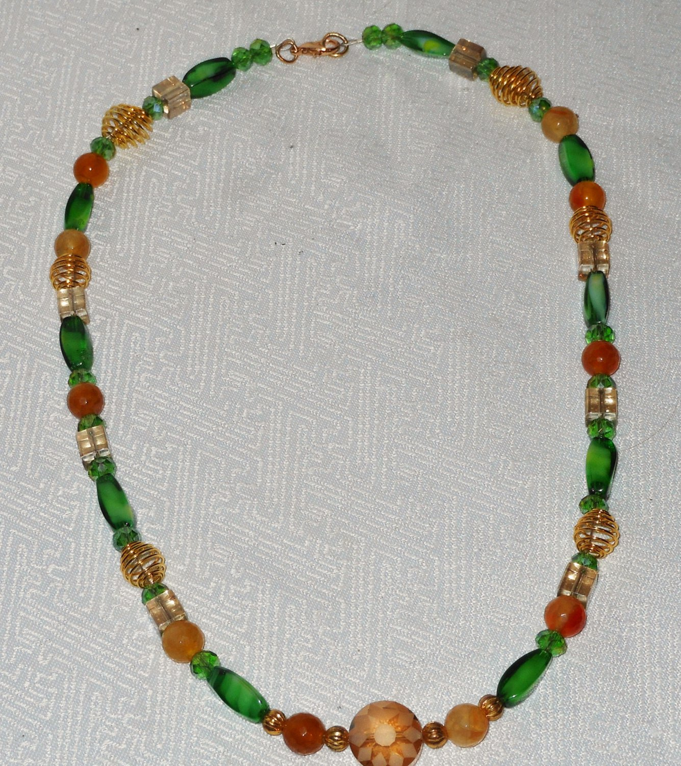 Greens And Golds Beaded Necklace