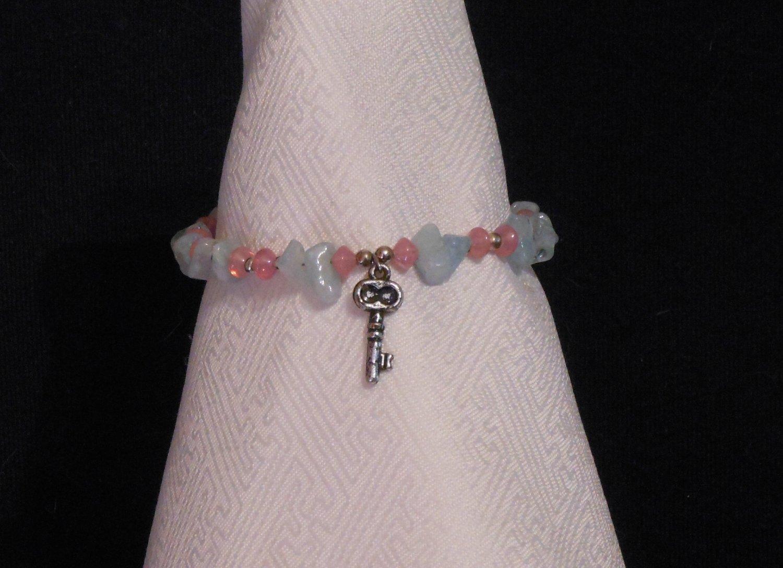 Handmade Genuine Aquamarine Key Charm Bracelet