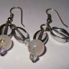 Natural Dangle Agate & Crystal Earrings Sterling Silver Hooks
