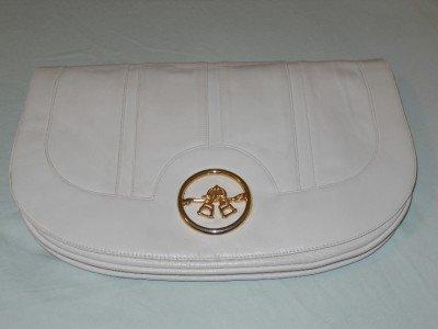 Vintage LOU TAYLOR Swivel Mirror Equestrian Handbag Clutch Ivory Leather Italy