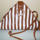 Look NEW Rare Italy - CASSIS - Brovn Ivory Stripe Leather Shoulder Crossbody Bag