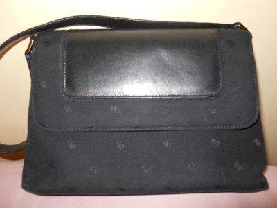Ralph Lauren Evening Handbag Purse Black Fabric Leather SIGNATURE LOGO